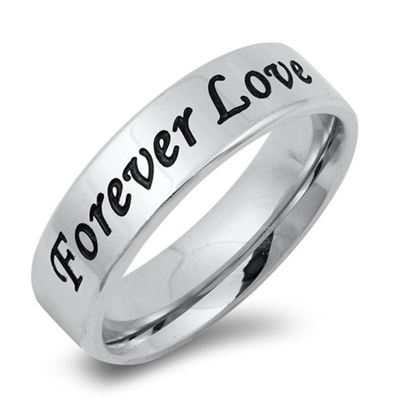 8mm Wide Black IP Beveled Edge Forever and Always Mens Ring Inside Engraved Stainless Steel Band