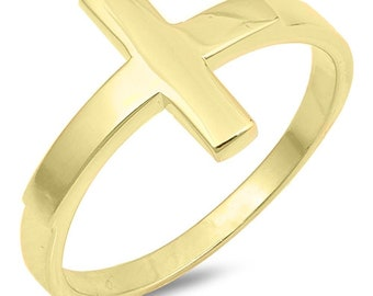Cross Ring, Sideways Cross Ring, Gold Plated Sterling Silver Cross Ring, Gift for Mom, Religious Ring, Christian Jewelry