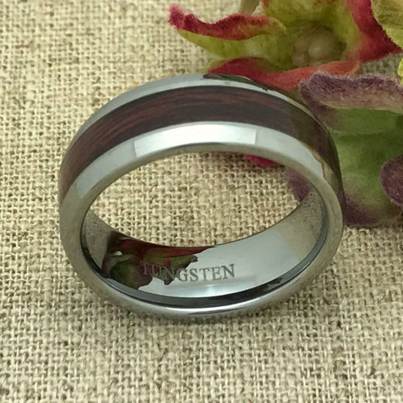 Wood Ring FREE ENGRAVING Size #10 Tungsten Ring Personalized  Wood Inlay Tungsten Ring,Men/'s Wedding Ring Band