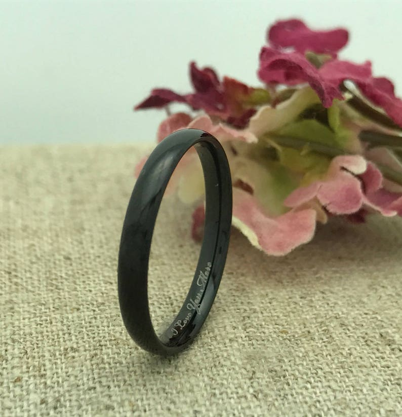 3mm Tungsten Wedding Ring Unisex Ring Promise Ring Personalized  Custom Engraved BLACK IP Plated Tungsten Ring