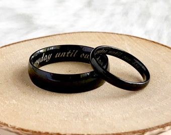 6mm/4mm Personalized His and Hers Titanium Rings, Couple Promise Rings, Wedding Bands, Couple Ring Set, Purity Ring, Promise Ring for Him