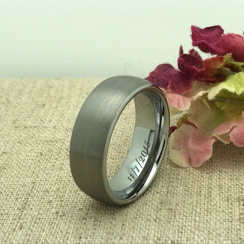 LGBT Ring 8mm Personalized Tungsten Ring Custom Promise Ring for Him Custom Date Ring Groomsmen Ring Friendship Ring Purity Ring