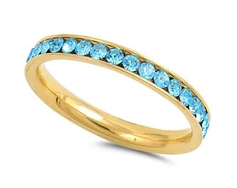 Eternity Band Simulated Aquamarine Crystal Eternity Ring, Stackable Ring Purity Ring Promise Ring- Wedding Band,FREE ENGRAVING