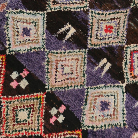 Boho Chic Vintage Berber Moroccan Rug With Tribal
