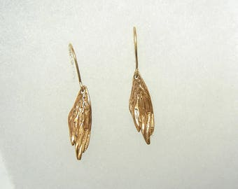 10K gold delicate feather earring
