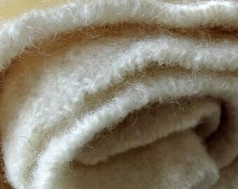 Boiled Wool Fabric, Reclaimed White Wool, 14 in x 6 in, Wool Appliqué, 100% Pure Wool, Ivory White Wool, White Boiled Wool, Fiber arts Wool