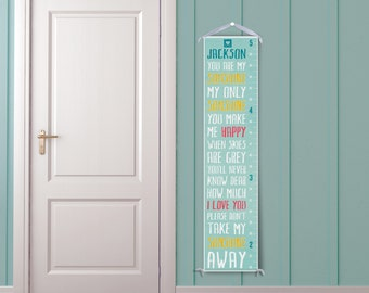 You Are My Sunshine - Personalized Growth Chart - Blue