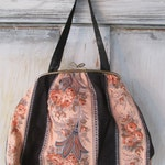 Vintage 1960's Jaquelle Purse with Navy and Peach Floral and Paisley Print Made in England