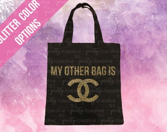 06cd95b133e2 My Other Bag is Chanel Black Soft Canvas Tote Bag - Silver or Gold Glitter  Text