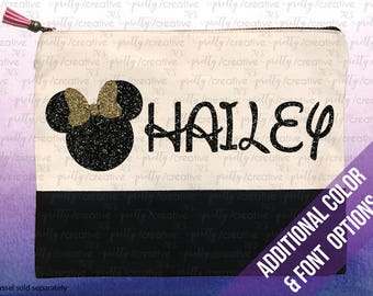 c41014ad36 Minnie Mouse Inspired Name Personalized Two Tone Makeup Cosmetic Bag Pencil  Case Black Canvas Trim