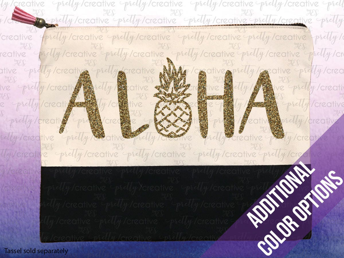 a7ec9f4a3192 ALOHA Pineapple Two Tone Makeup/Travel Cosmetic Bag with Black Canvas Trim  - Black, Silver or Gold Glitter