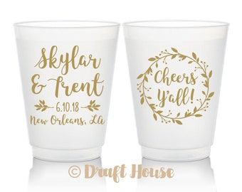 2021 Party Cup White Imprint NYE Party Cup Hostess Gift Cheers Y/'all Silver 16 oz Stadium Cups