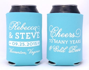 Wedding Can Huggers, Cheers to Many Years & Cold Beers, Rustic Wedding, Barn Wedding, Outdoor Wedding, Couples Shower, Rehearsal Dinner