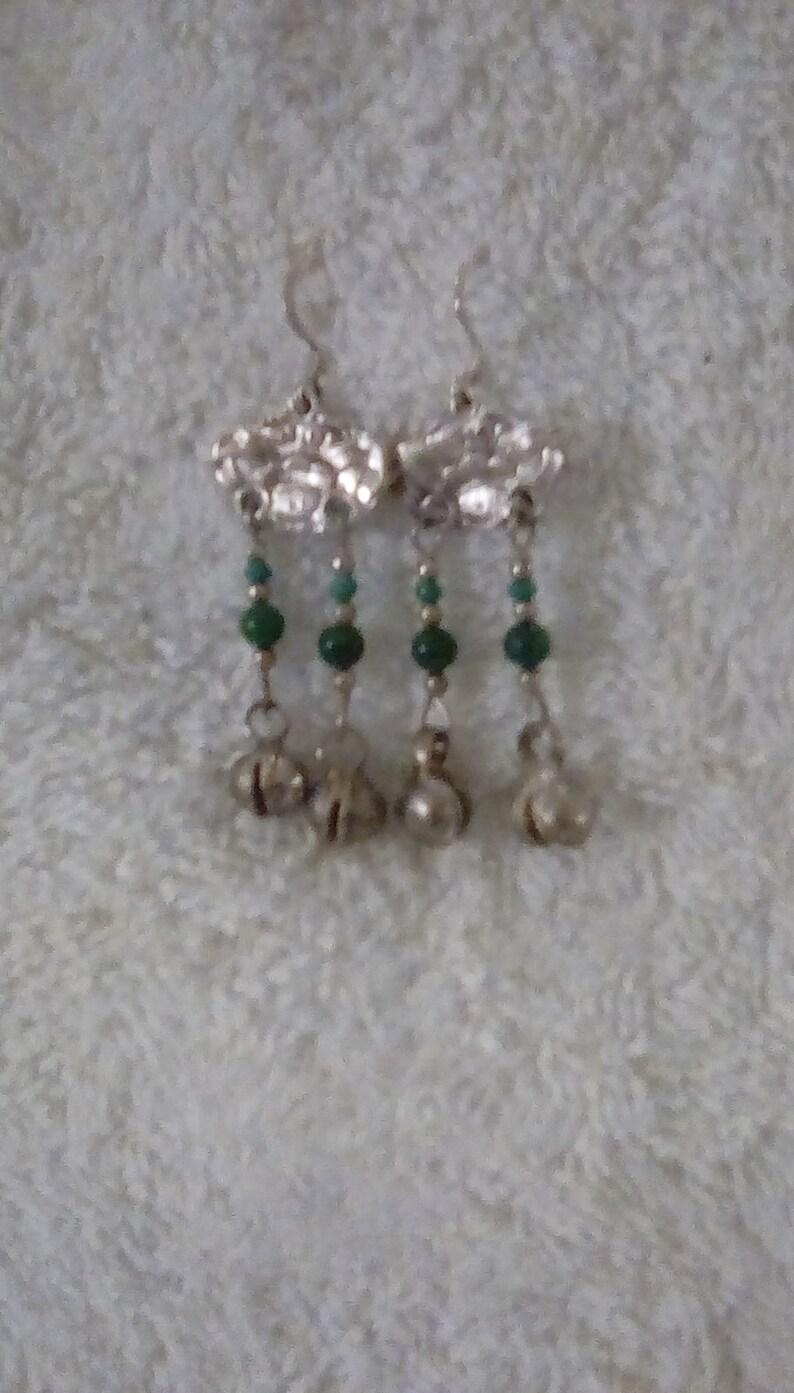 Bo Ho Malachite Bali Bell Dangle Earrings Sterling Ear WIres Vintage One  FREE domestic SHIPPING! handmadebyjade handmade