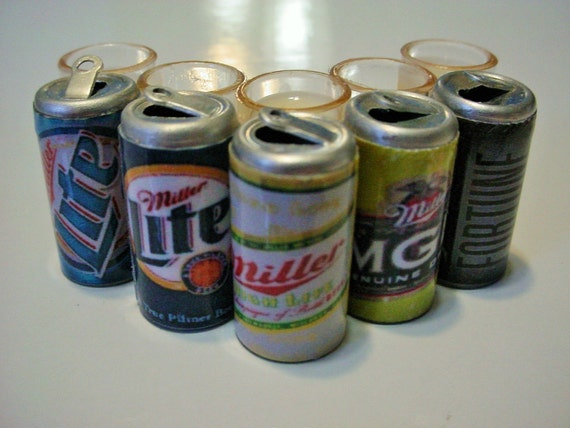 Set of 6 Cans of Miller Lite Beer  Dollhouse Miniatures Drink