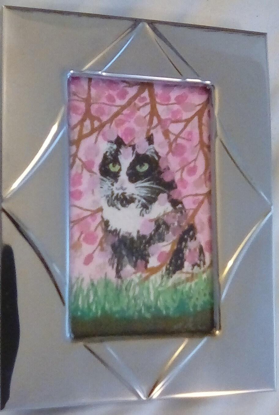 Cat Miniature Original Artwork 2x3 in 3x4 Frame Watercolor