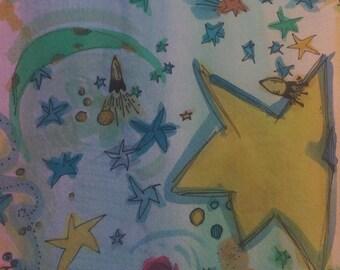 Cosmic Fun, watercolor and pen drawing