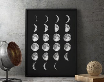 Moon Phases, Wall Art, Moon Print, Moon Phases Sign, Lunar Phases, Moon Poster, Astronomy, moon phases poster