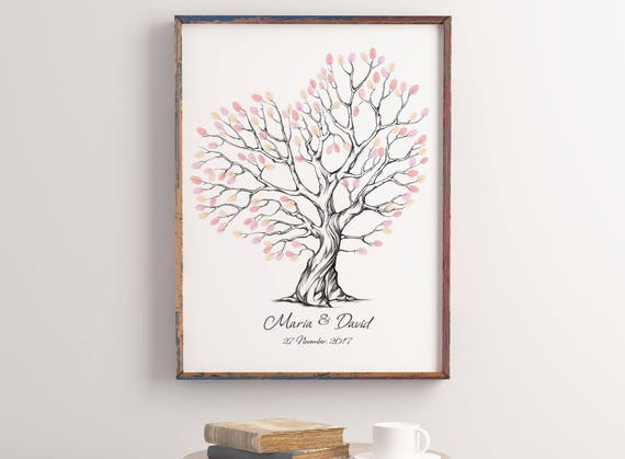 Wedding Fingerprint Tree Printable Fingerprint Tree Etsy