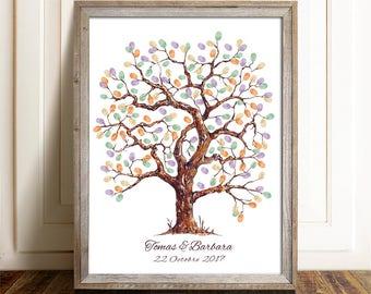 Printable fingerprint tree, Customizable Thumbprint tree , wedding Guestbook,  christening fingerprint tree, birthday fingerprint
