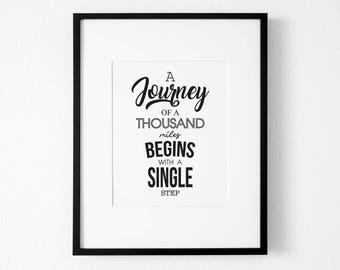 Journey Art, Wall Art, Travel Print, Typography Quote, Bedroom Quote Art, Quote Art, Inspirational Quote Print