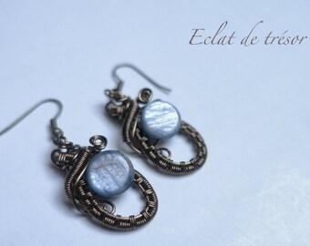 Earrings Songe wire weaving, kyanite gemstone
