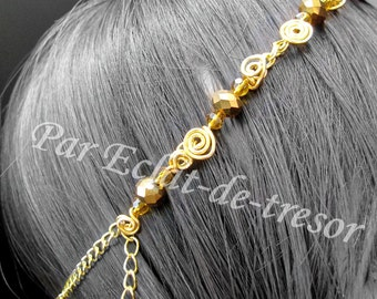 Headband chain whirl of gold and crystals