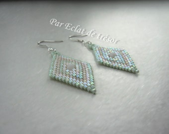 Pastel green diamond shaped beaded earrings