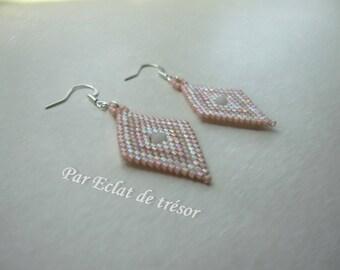 Pastel pink diamond shaped beaded earrings
