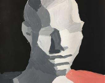 "1""Head On Pink"" Original Acrylic Painting 9"" x 12"""
