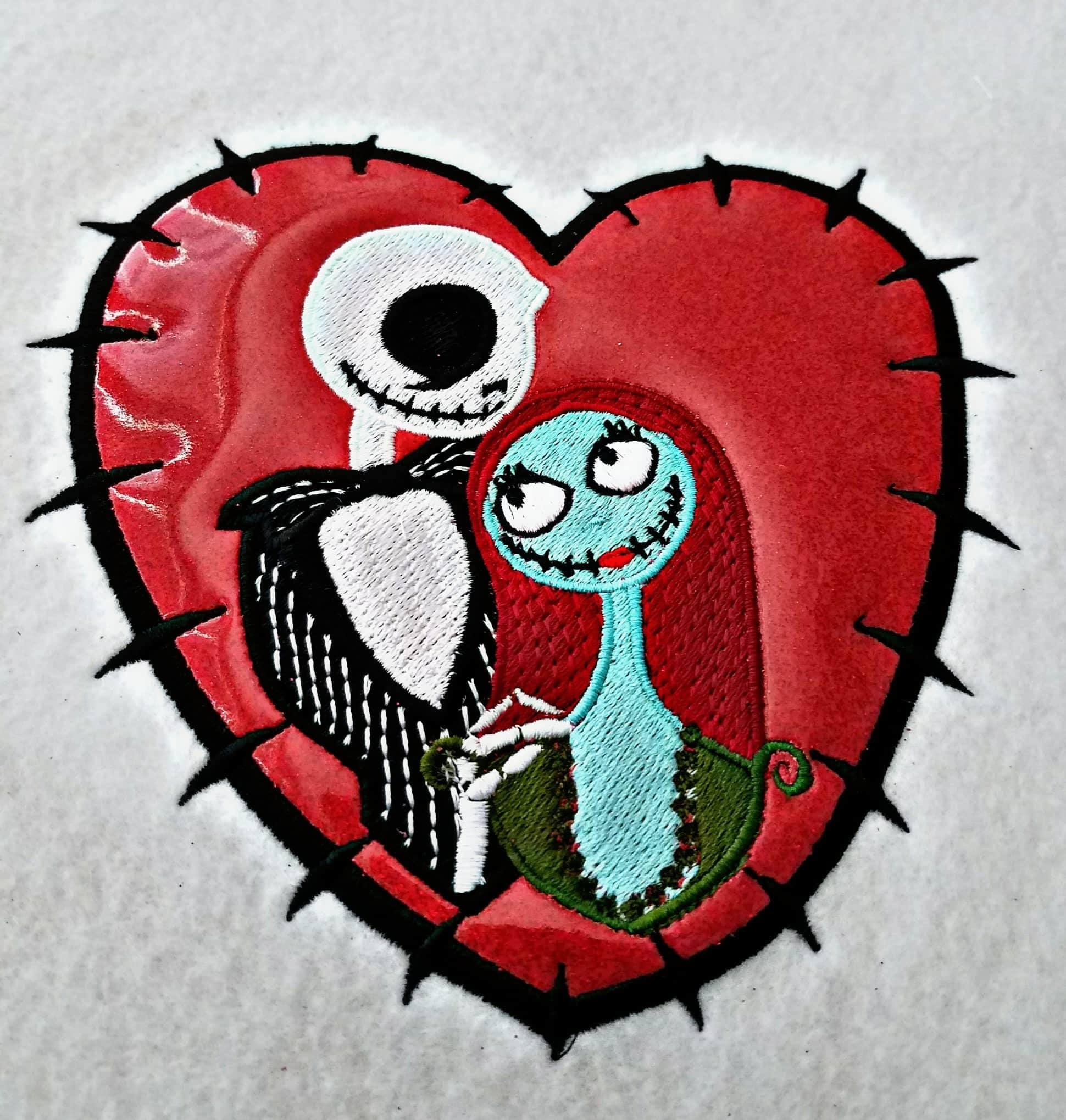 Jack and Sally Heart 5 x 7 Applique Embroidery Design