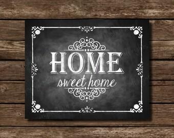 home sweet home chalkboard art printable home decor etsy