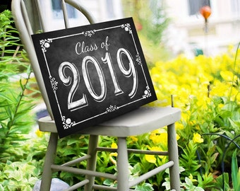 class of 2019 chalkboard graduation sign printable digital graduation party sign congrats class of 2019 graduation party decorations diy