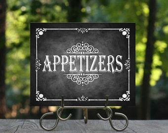 Printable Chalkboard Wedding Appetizers Sign, Buffet Sign, Wedding Sign, Rustic Wedding Sign, Chalkboard Sign, DIY Wedding, Food Sign, DIY