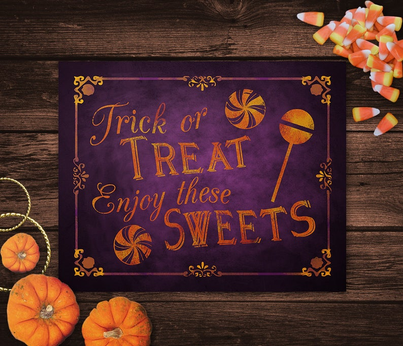 image about Trick or Treat Signs Printable called Trick or Take care of, Take pleasure in Individuals Sweets Printable Halloween Indicator, Trick or Take care of Decor, Halloween Celebration Decorations, Halloween Marriage ceremony Signage
