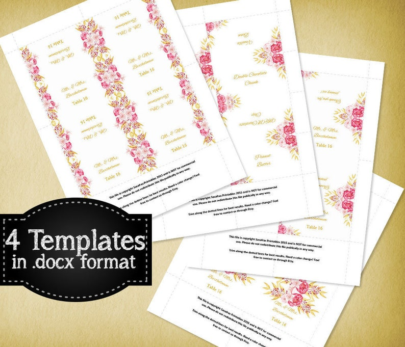 Pink Place Cards Printable Floral Favor Tags Floral Escort Cards Printable Flower Templates Pink Baby Shower Baby Shower Favor Tags