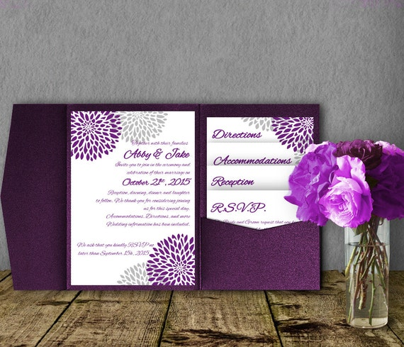 Silver Purple Wedding Invitation Template Invitation Suite Etsy