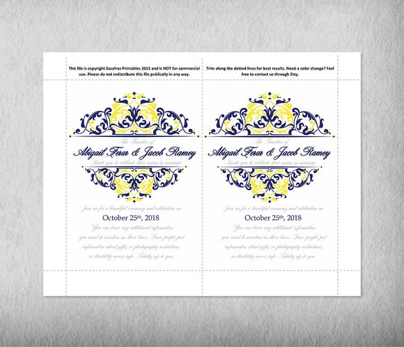 Printable Cobalt Blue Yellow Wedding Invitation Templates Suite Save The Date Thank You Card RSVP Michigan Graduation