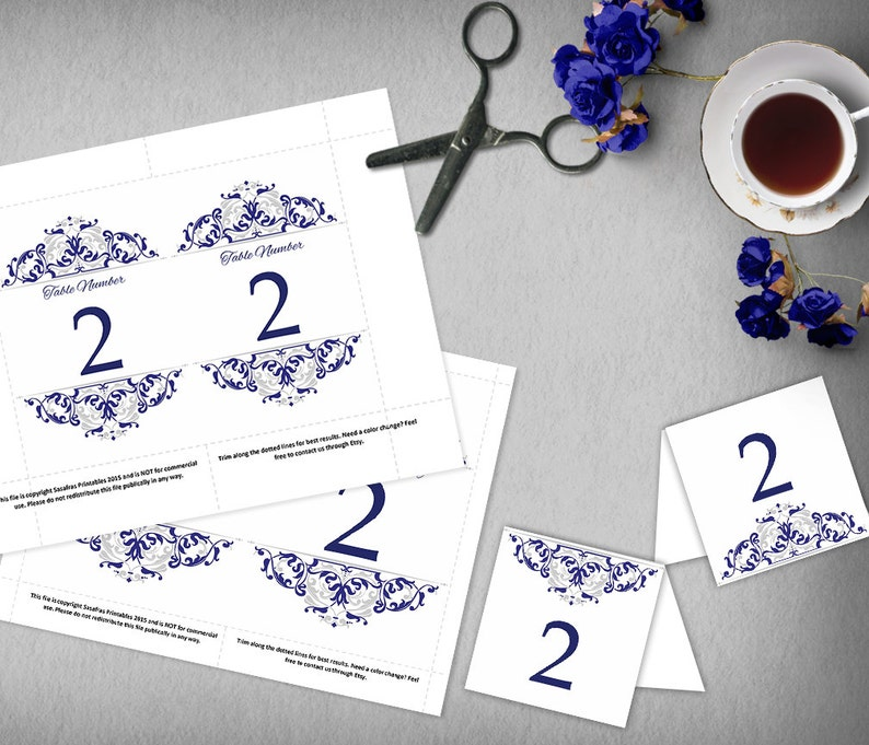photograph about Free Printable Wedding Table Numbers titled Blue and Silver Marriage ceremony Desk Quantities, 4x6 and 5x7 Do it yourself Desk Quantities, Printable Wedding ceremony Template, Editable Royal Blue Tented Desk Playing cards