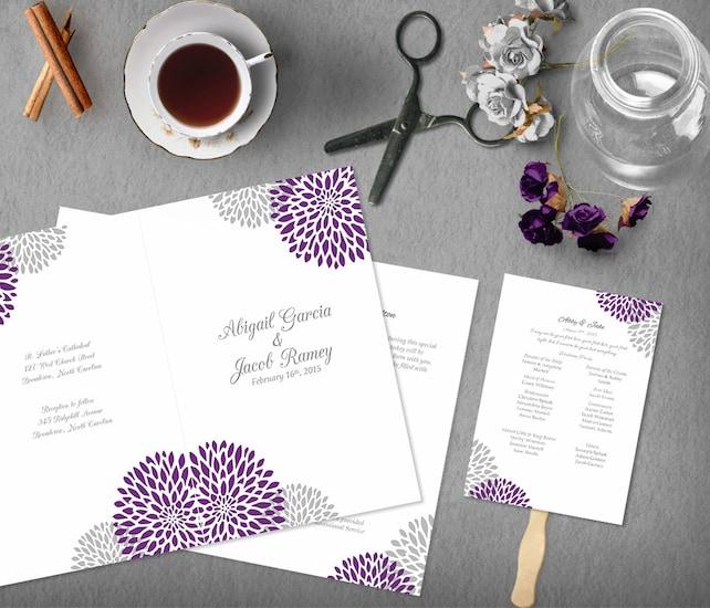 Purple Grey Printable Wedding Program Template Order Of Service