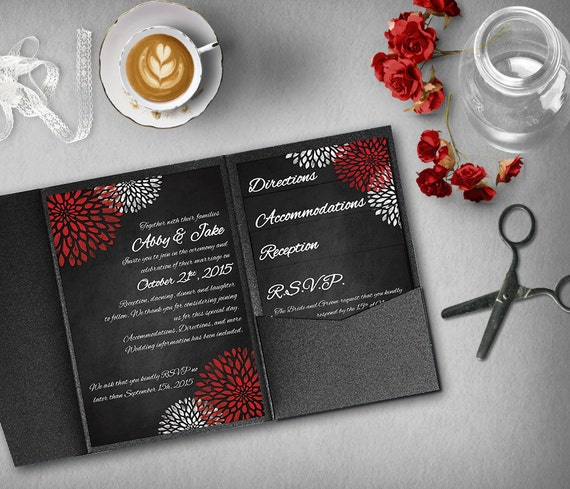 black red wedding invitation template invitation suite etsy