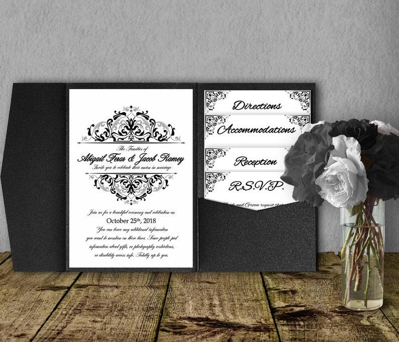 Black And Silver Wedding Invitation Template Kit Invitation Etsy