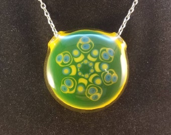 Aqua Jackpot Vortex Pendant w Blue Leprechaun Loop--Heady Glass Pendant--Handmade Pendant--Flameworked Glass
