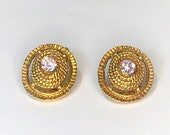 Vintage Gold Clip On Earrings. Antique Ovals With Purple Center Crystal. Classic Art Deco Jewelry. Small Light Weight Elegance. Sale