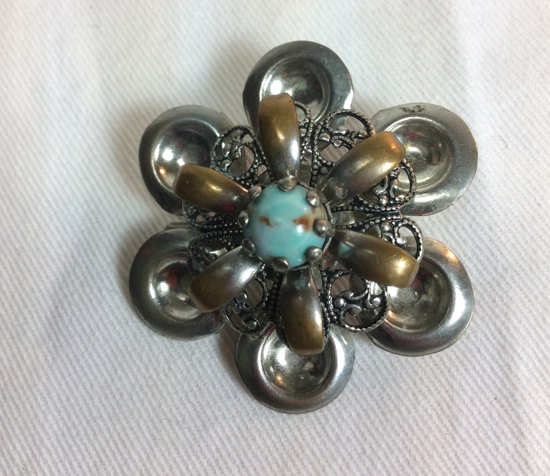 Antique Silver And Turquoise Flower Pin Vintage Silver Floral Brooch Collectible Turquoise Jewelry Classic Art Deco Design Like New