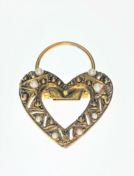 Vintage Bronze & Pearl Heart Scarf Clip. Antique D