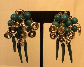 Pretty Vintage Turquoise Wooden Dangle Earrings