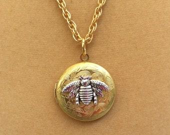 Bee Locket. Bumblebee Locket Pendant. Locket Necklace