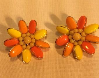 Vintage Orange And Yellow Flower Earrings