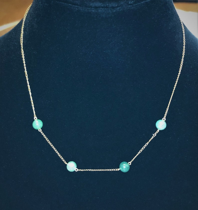 Like New Condition Delicate Gold Chain Light Weight Vintage Jade Beaded Choker Sale Stunning Simple Jade Choker 6 MM Jade Beads